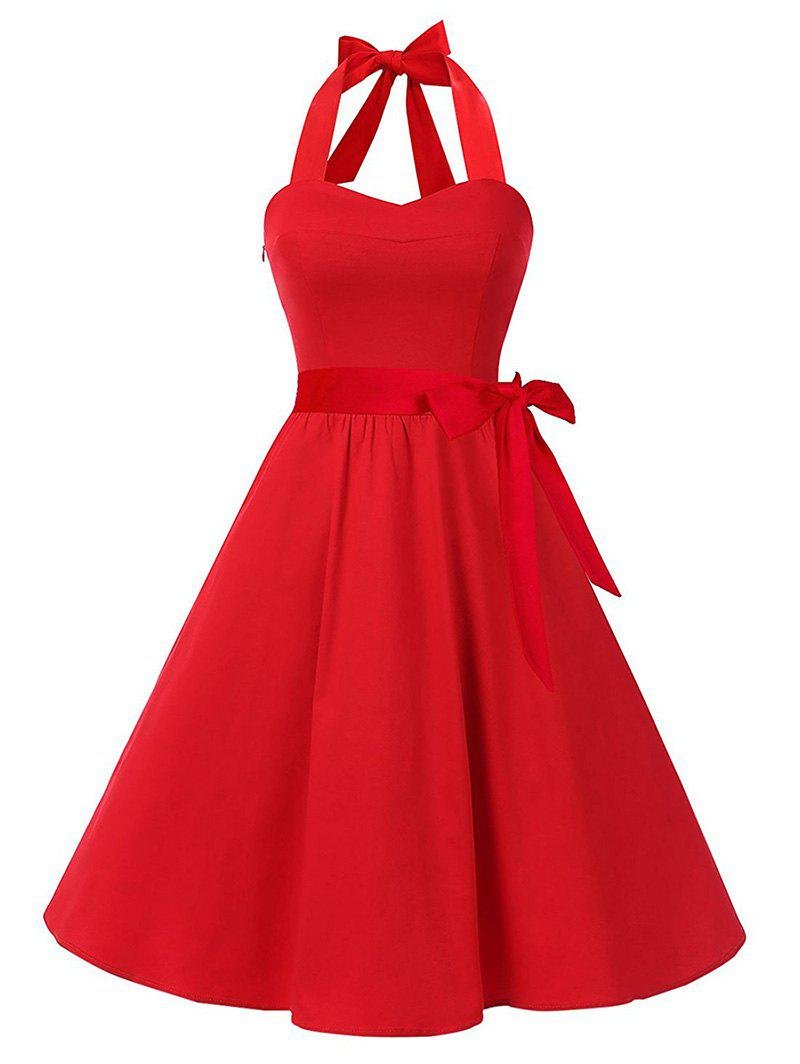 Lace Up Belted Vintage A Line Dress - LAVA RED M