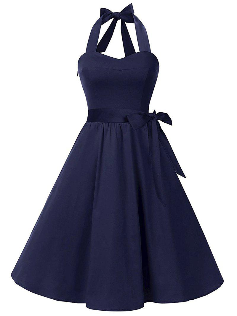 Lace Up Belted Vintage A Line Dress - DEEP BLUE S