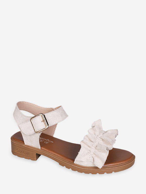 Ruffled Low Heel Ankle Strap Sandals - WHITE EU 40