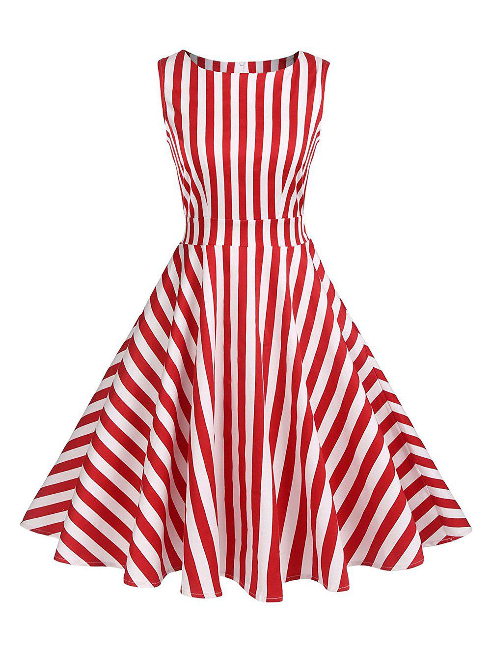 Striped Knotted High Rise Flare Dress - RED L