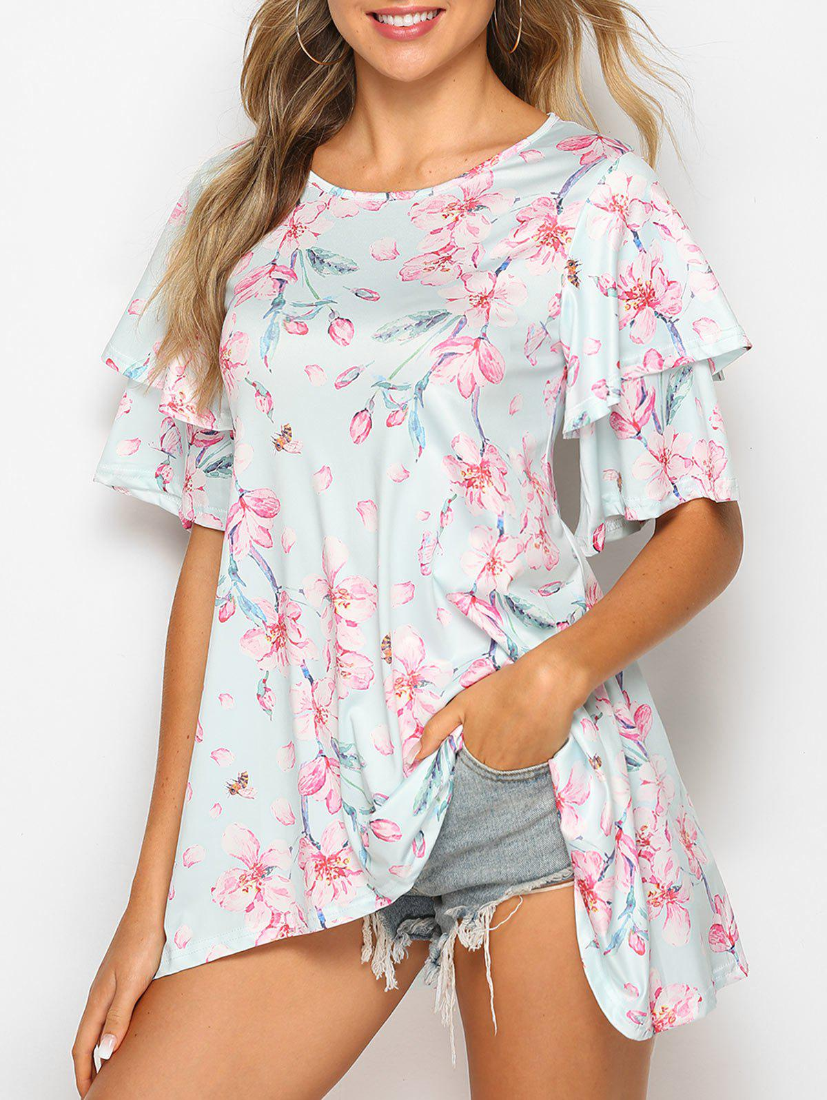 Asymmetric Layered Sleeve Floral Print T Shirt - LIGHT CYAN 2XL
