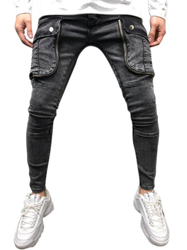 Pocket Design Ripped Casual Jeans - BLACK XL