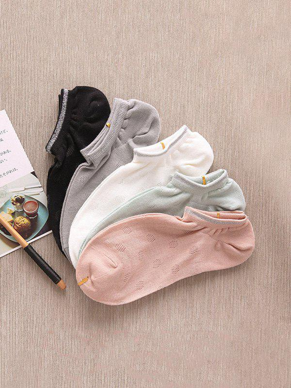 5Pairs Summer Solid Breathable Invisible Socks Set - multicolor A