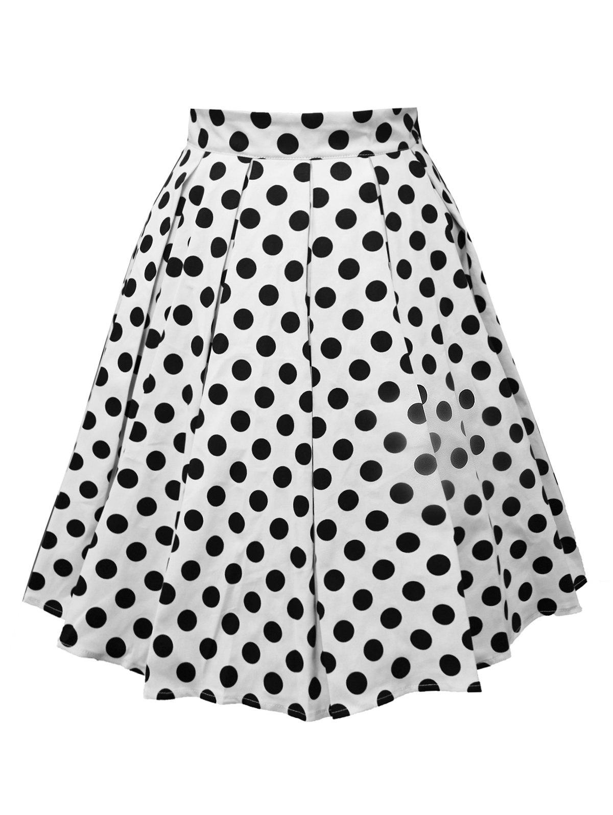 Polka Dot A Line Vintage Skirt - WHITE 2XL