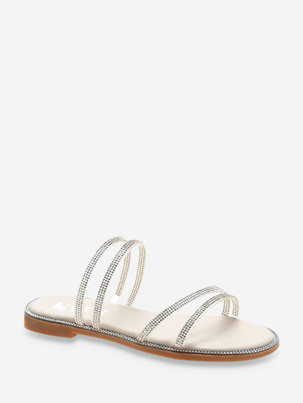 Rhinestone Convertible Strap Flat Sandals - MILK WHITE EU 38