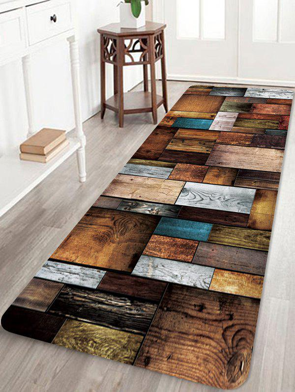 Colorful Wooden Board Pattern Water Absorption Floor Area Rug - DARK GOLDENROD W24 X L71 INCH