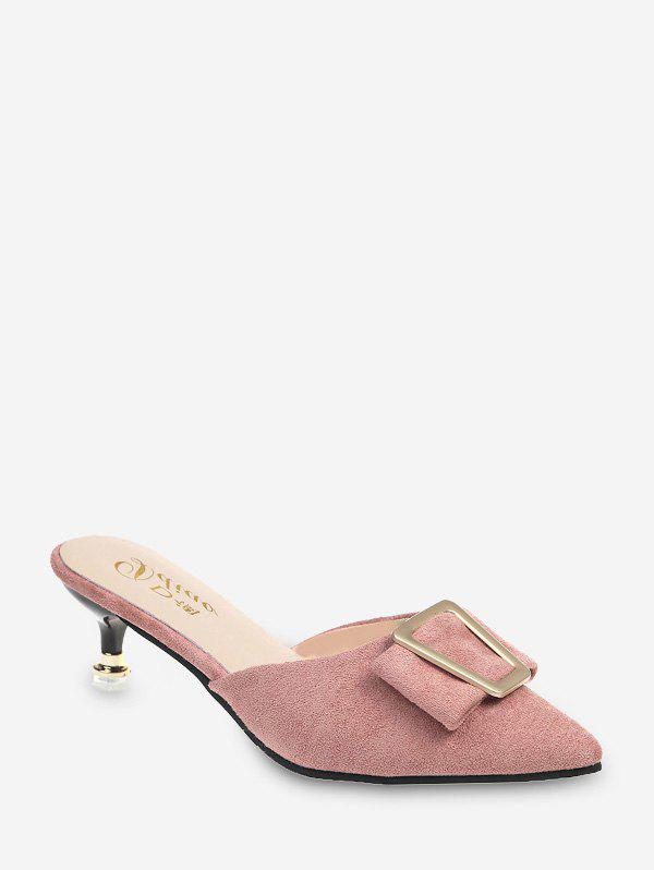 Geo Buckle Pointed Toe Half Loafer Pumps - LIGHT PINK EU 38