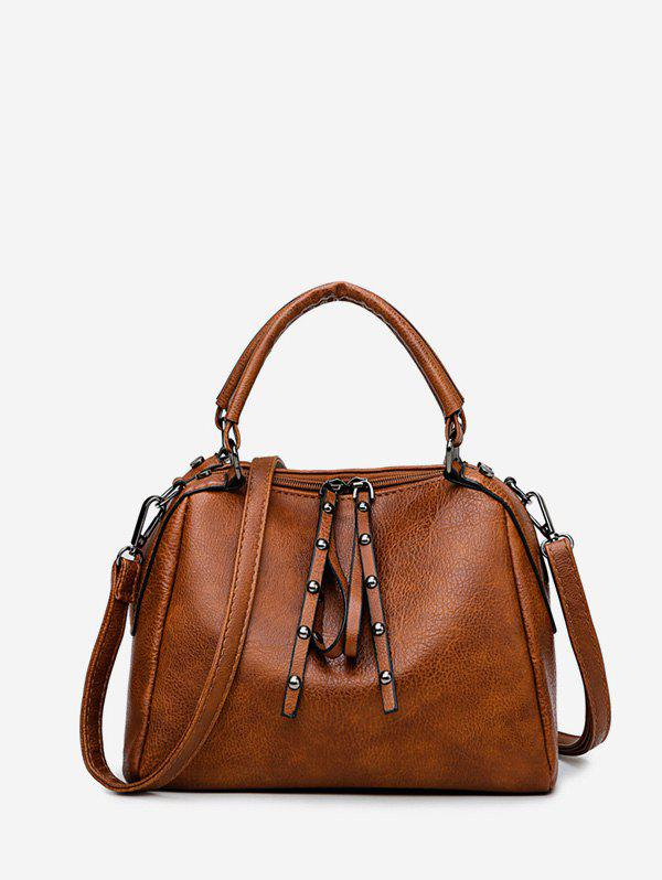 Rivet Retro Shoulder Handbag - BROWN