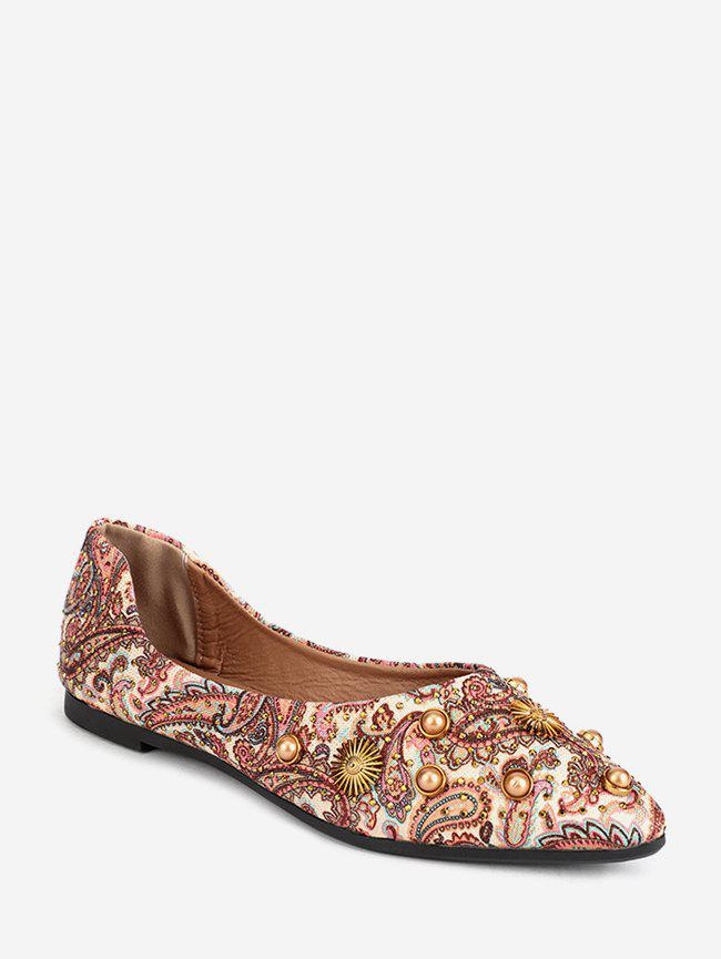 Paisley Print Pointed Toe Ballet Flats - LIGHT KHAKI EU 39