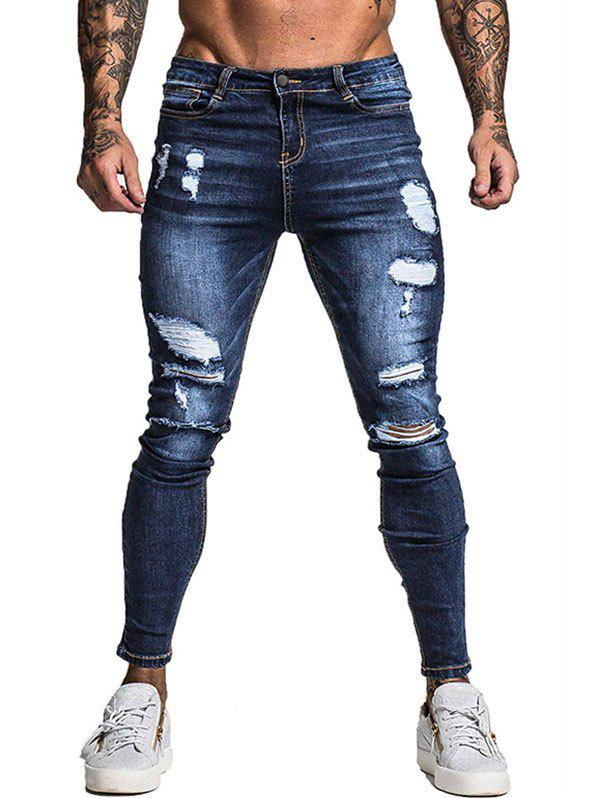 Ripped Design Casual Zipper Jeans - LAPIS BLUE S