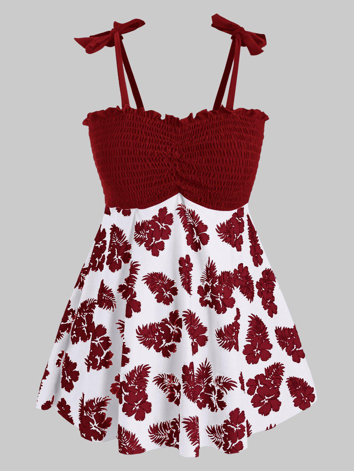Plus Size Smocked Floral Print Tankini Swimsuit - RED WINE 1X