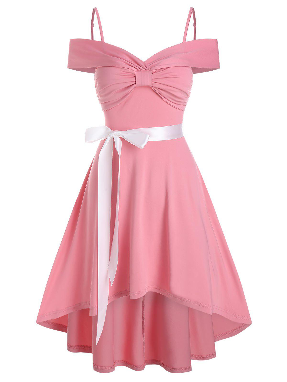 Bow Ruched High Low Belted Vintage Dress - PINK 2XL