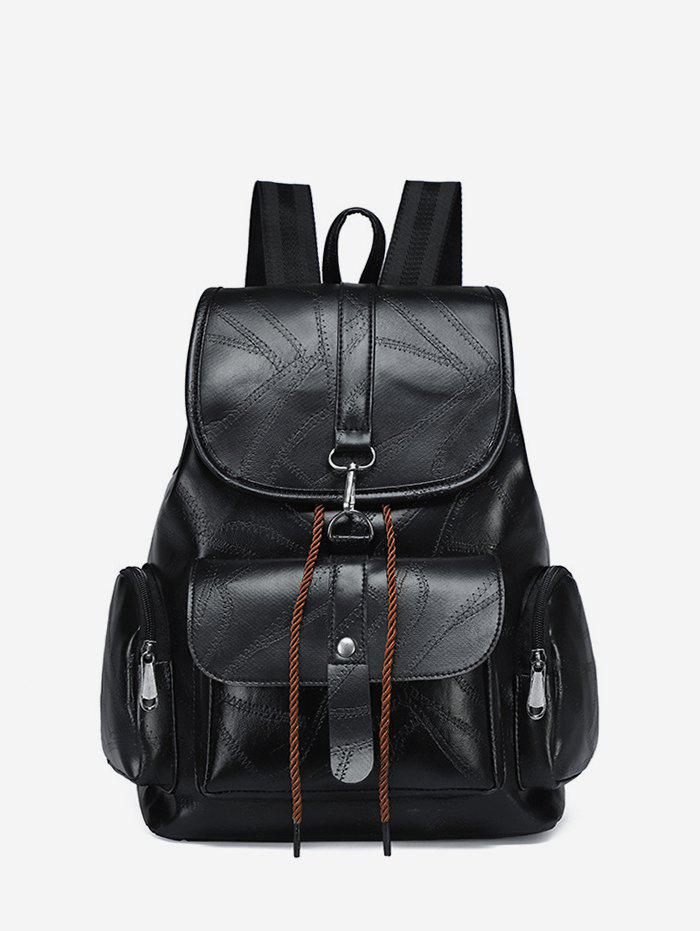 Soft Leather Drawstring Flap Backpack - BLACK