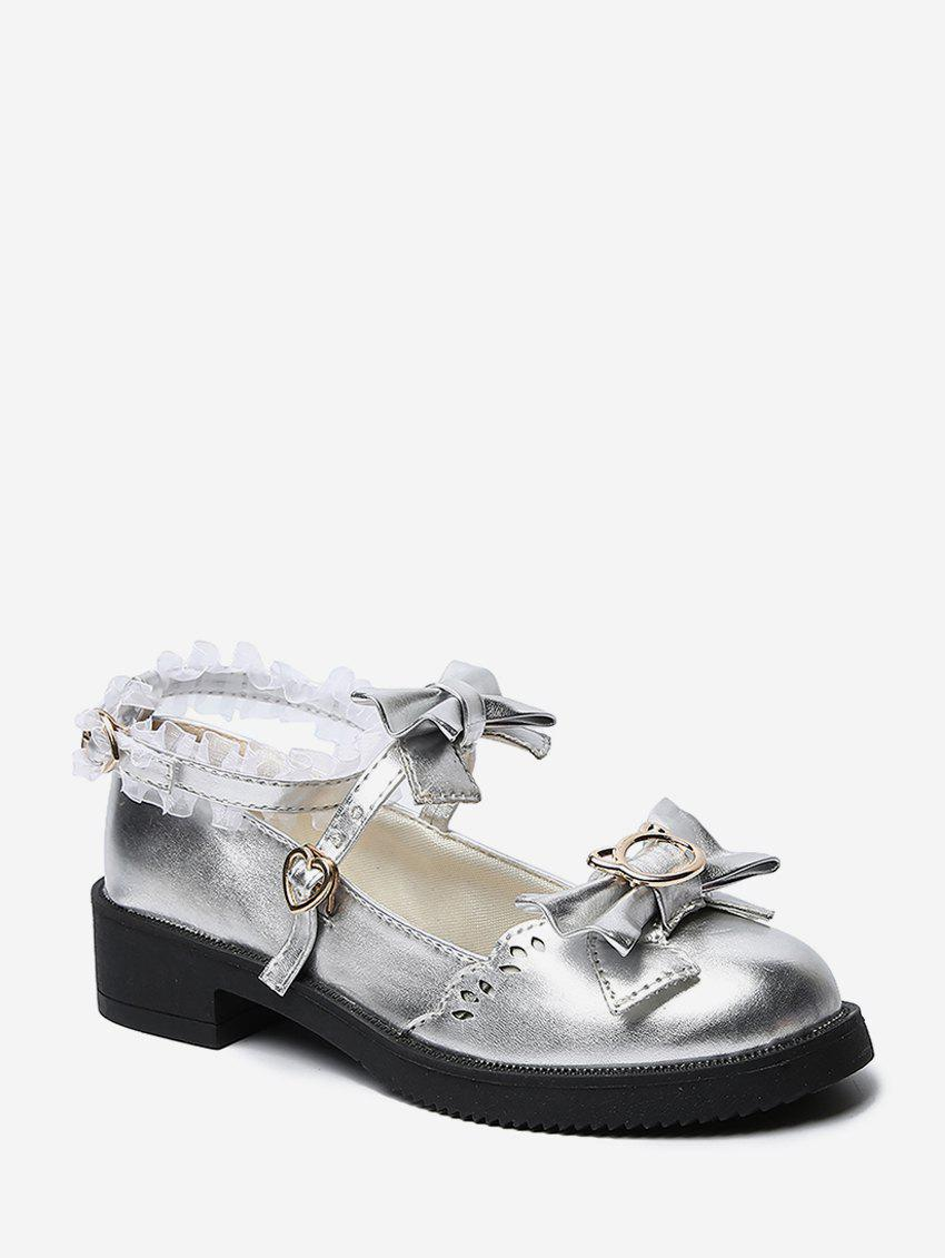 Bowknot Leather Low Heel Lolita Shoes - SILVER EU 38