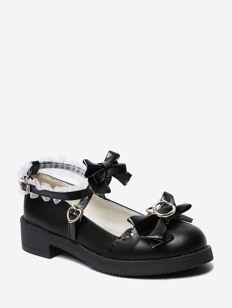 Bowknot Leather Low Heel Lolita Shoes - BLACK EU 38