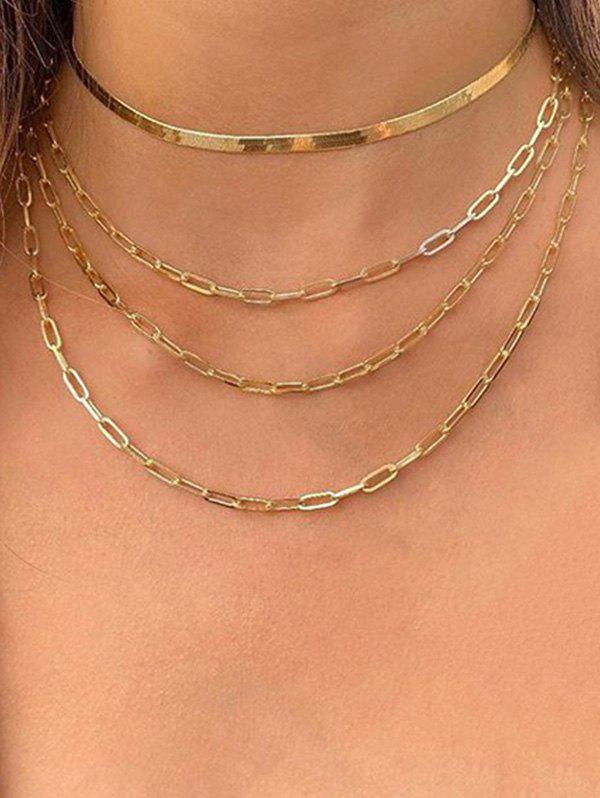 Layered Steampunk Chain Necklace - GOLD