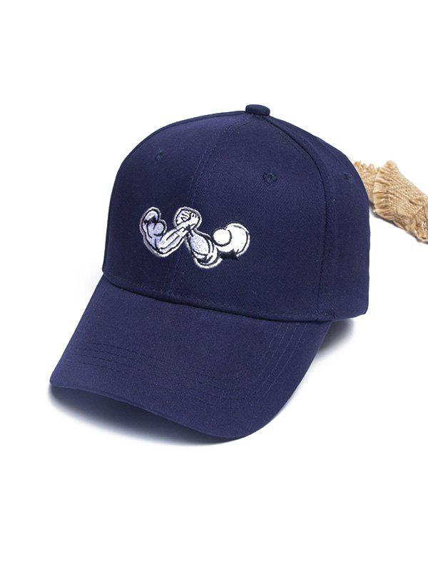 Hand Wrestling Pattern Embroidery Baseball Cap - CADETBLUE
