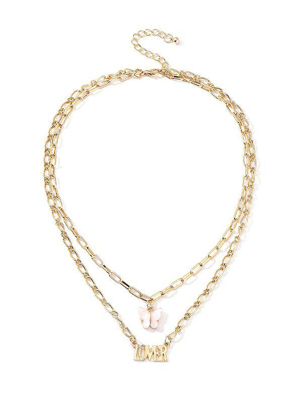 Butterfly And Letter Pendant Double Layer Chain Necklace - PINK