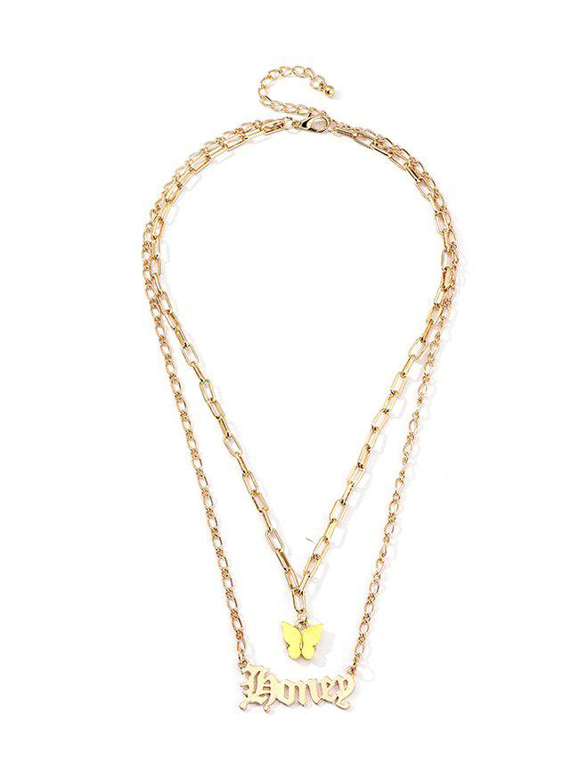 Butterfly And Letter Pendant Double Layer Chain Necklace - CORN YELLOW