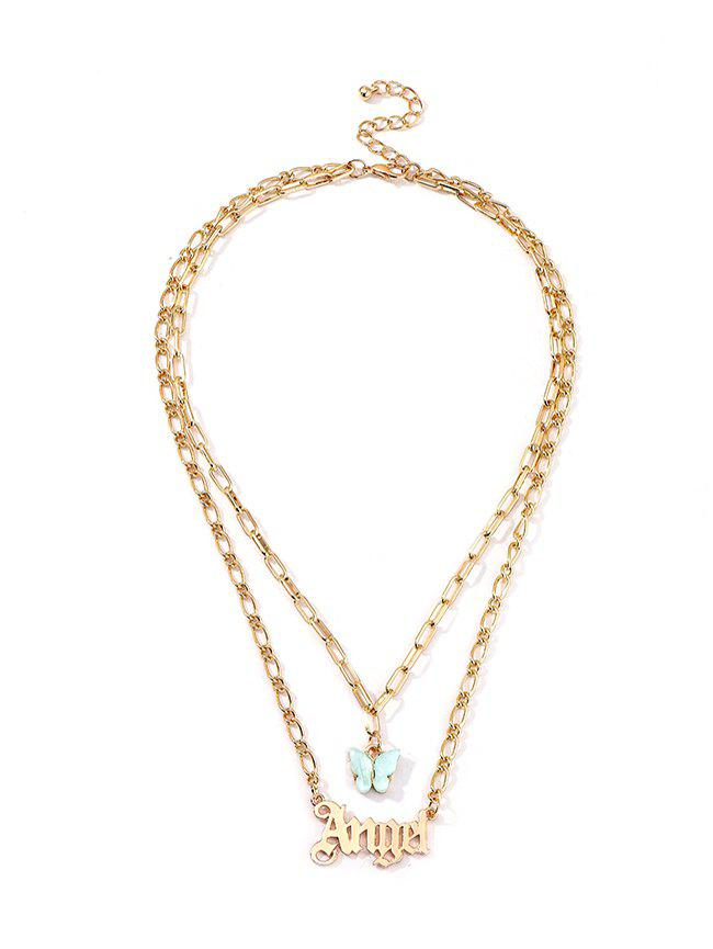 Butterfly And Letter Pendant Double Layer Chain Necklace - AQUAMARINE