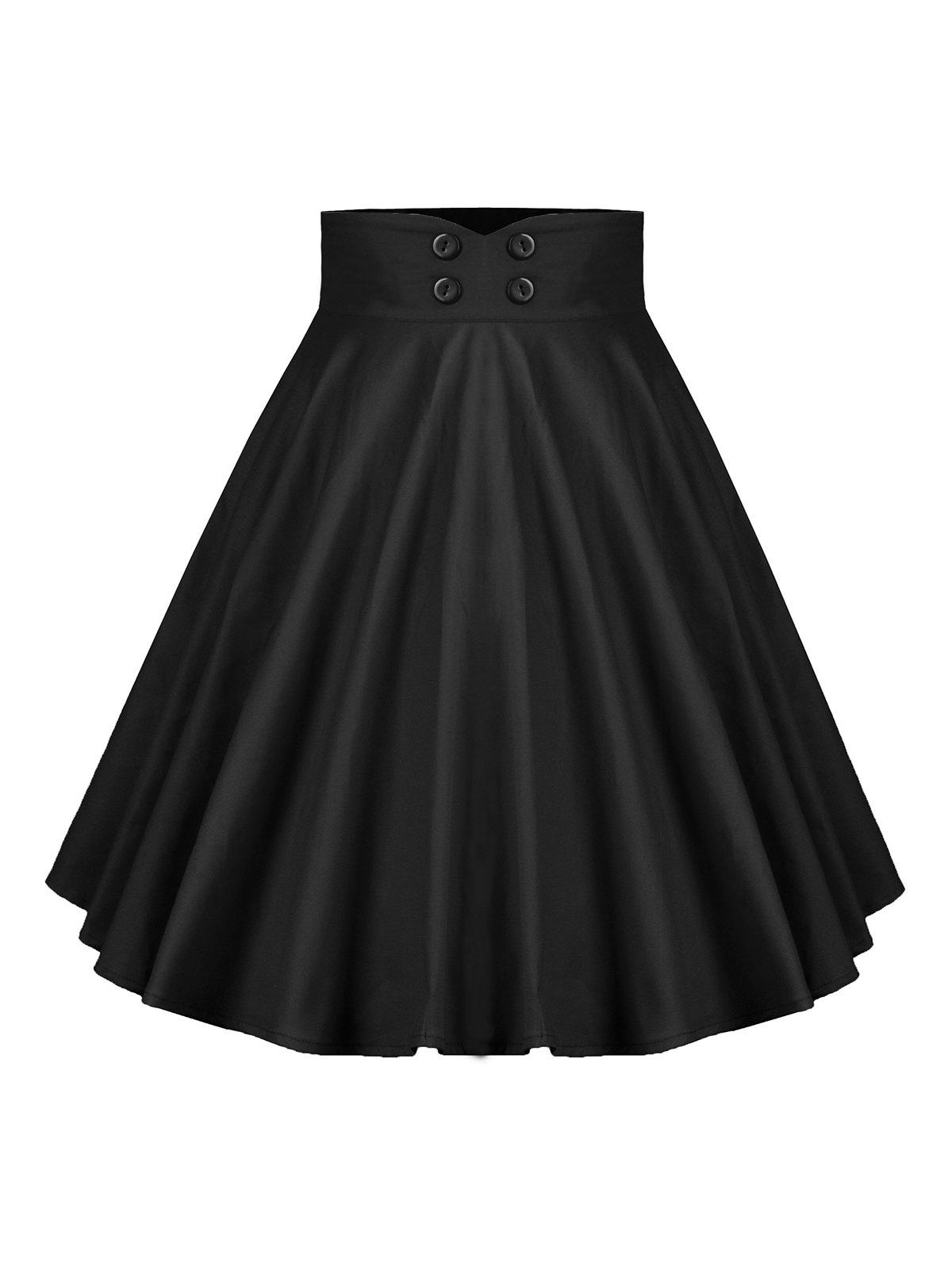 Buttoned A Line High Rise Pleated Skirt - BLACK M
