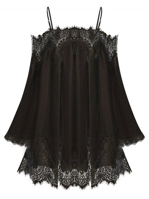 Lace Insert Open Shoulder Chiffon Cover Up
