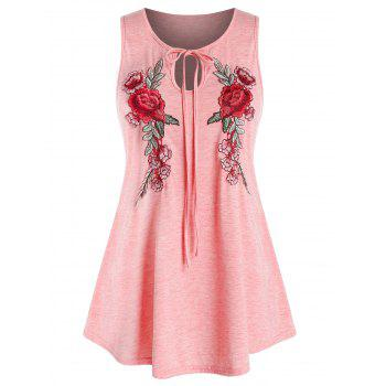 Plus Size Keyhole Embroidered Tank Top