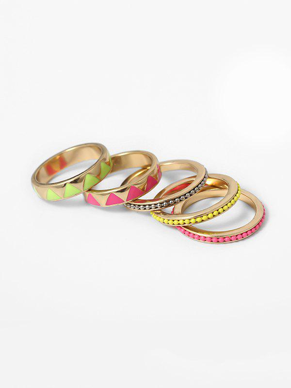 Ethnic Geo Beads Ring Set - multicolor A