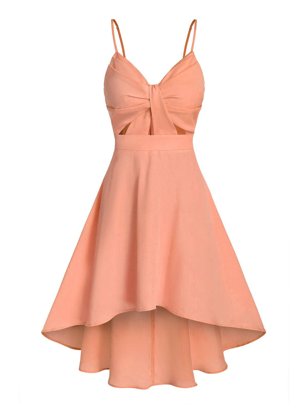 Solid Front Knot Cami Dip Hem Dress - ORANGE SALMON 3XL