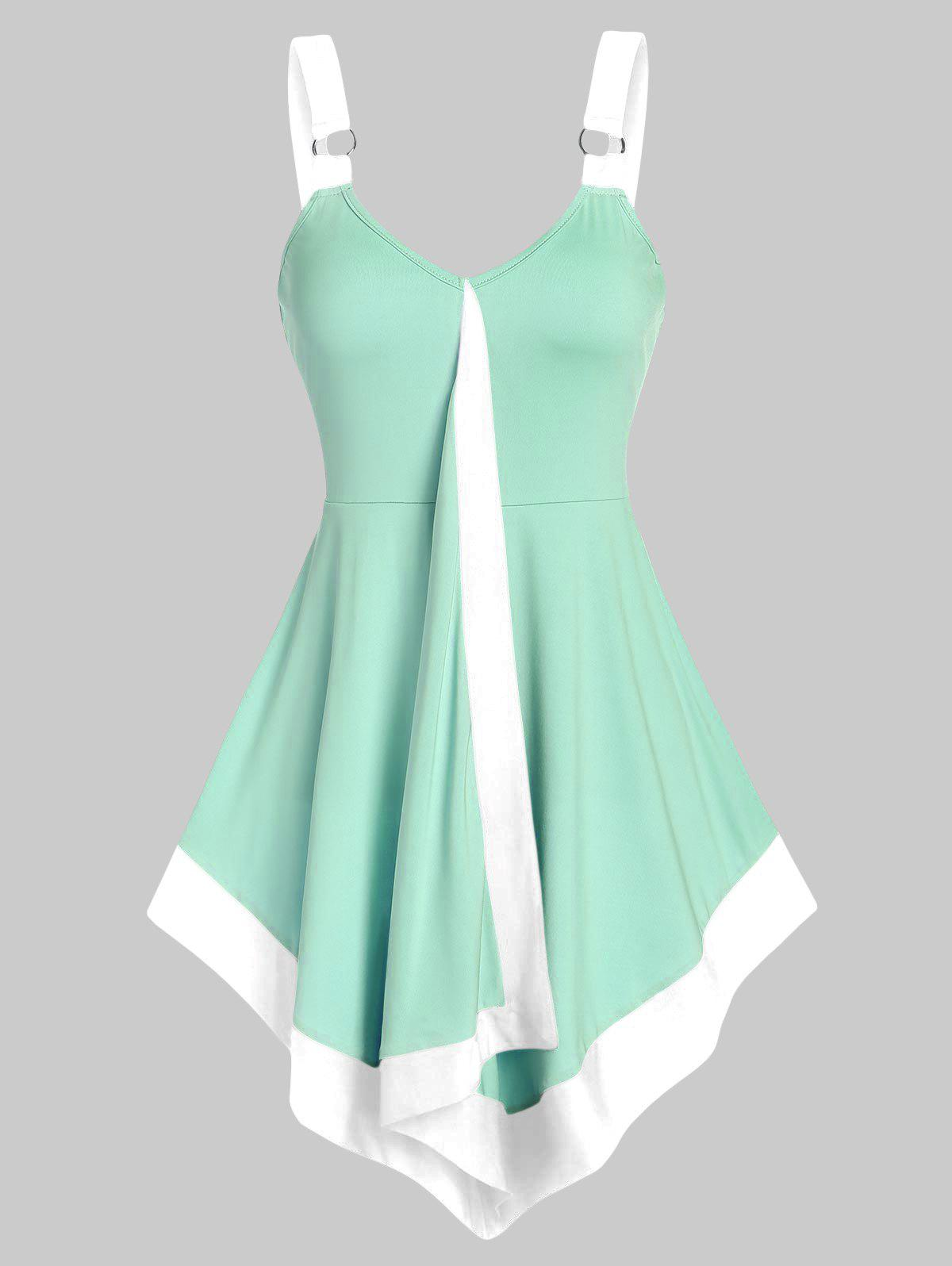 Contrast Pointed Hem Flare Tank Top - MINT GREEN L