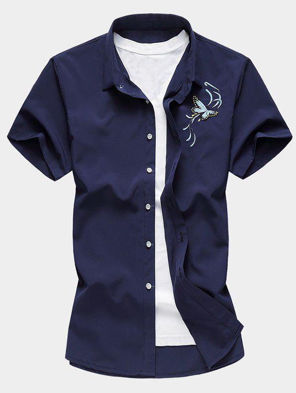 Butterfly Embroidered Short Sleeve Button Up Shirt - CADETBLUE 2XL