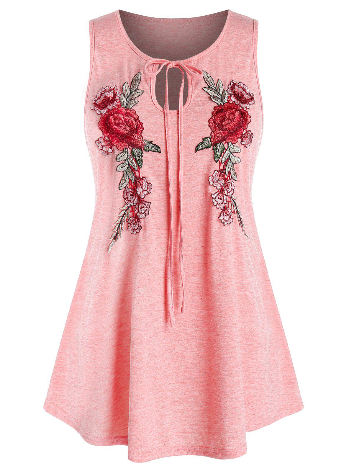 Plus Size Keyhole Embroidered Tank Top - LIGHT PINK 1X