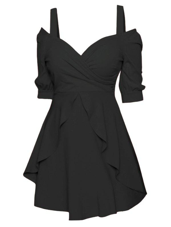 Cold Shoulder Surplice Overlay Skater Dress - BLACK 3XL