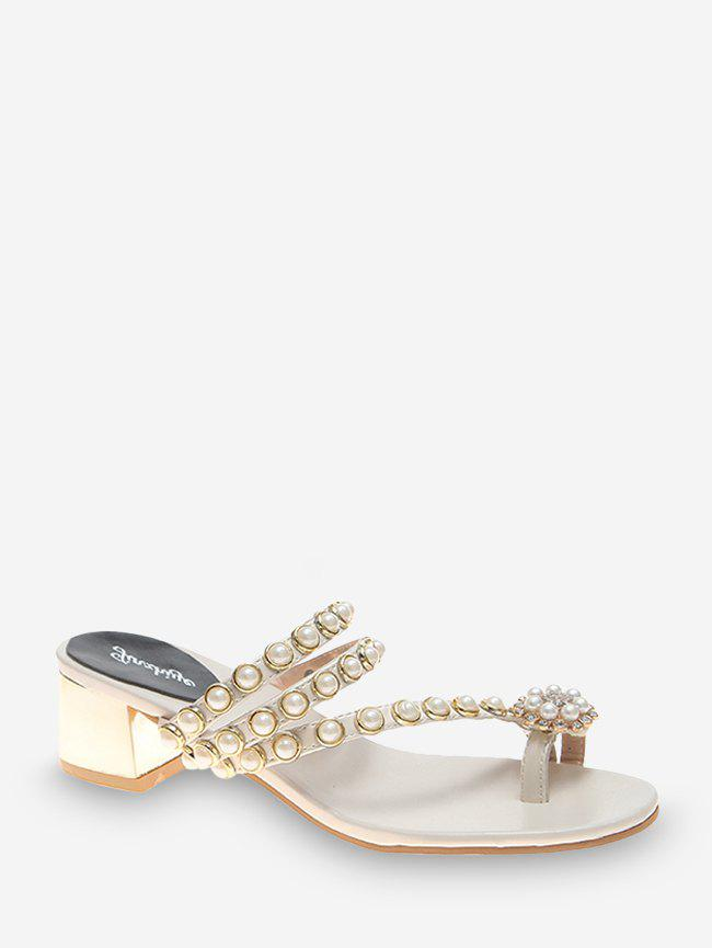 Floral Faux Pearl Chunky Heel Toe Ring Slides - WHITE EU 38