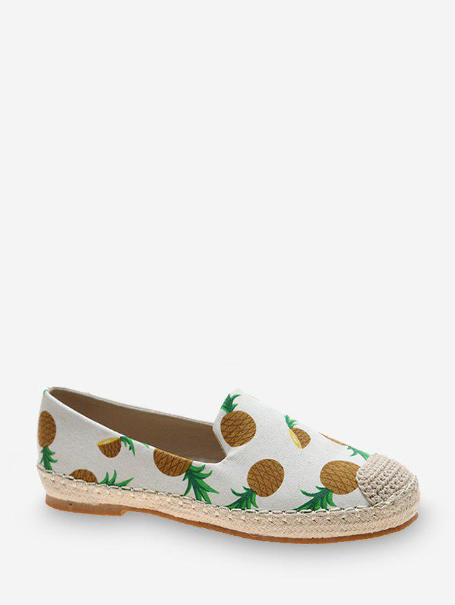 Fruit Print Cloth Loafer Flat Shoes - SUN YELLOW EU 40