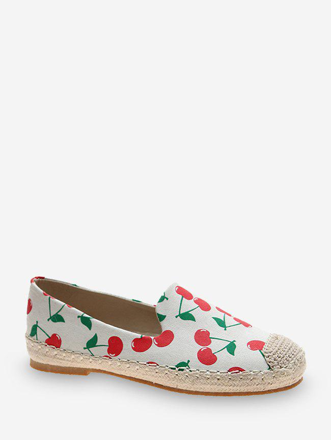 Fruit Print Cloth Loafer Flat Shoes - RED EU 40
