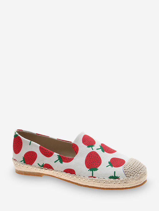 Fruit Print Cloth Loafer Flat Shoes - LAVA RED EU 40