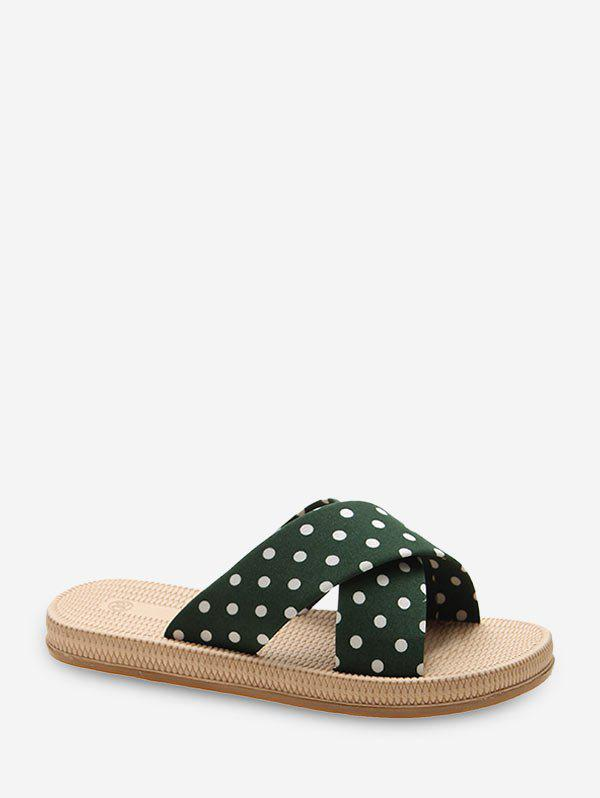 Polka Dot Crisscross Casual Flat Slides - SEA GREEN EU 39