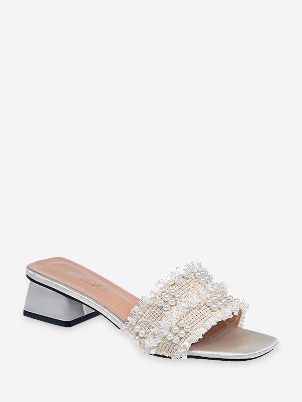 Distressed Trim Faux Pearl Chunky Heel Slides - BEIGE EU 39