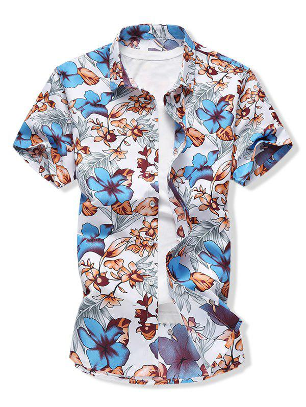 Floral Short Sleeve Button Down Shirt - BLUE 2XL