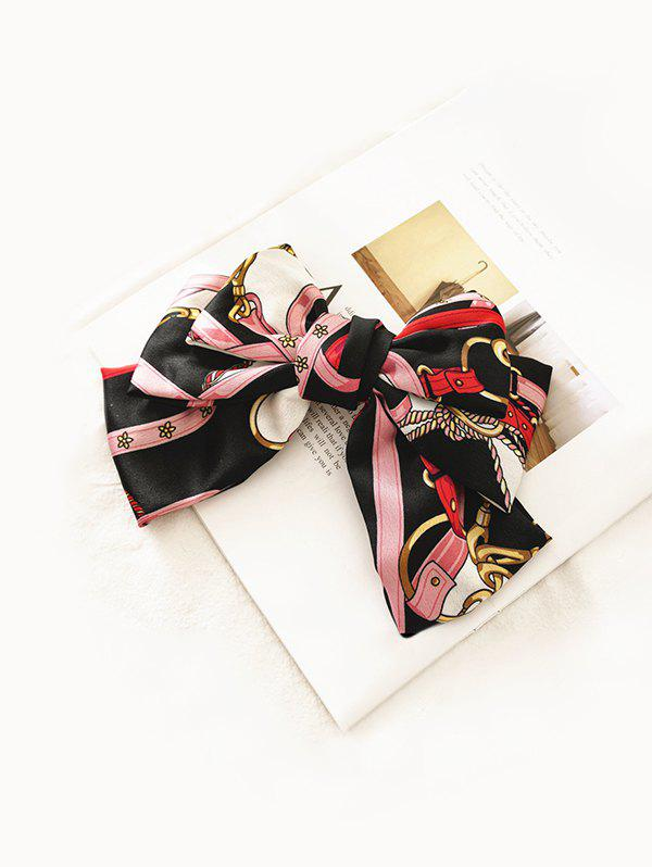 Chain Print Bowknot Fabric Hair Clip - PINK