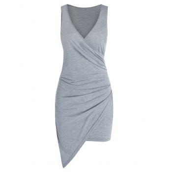 Sleeveless Asymmetric Surplice Sheath Dress