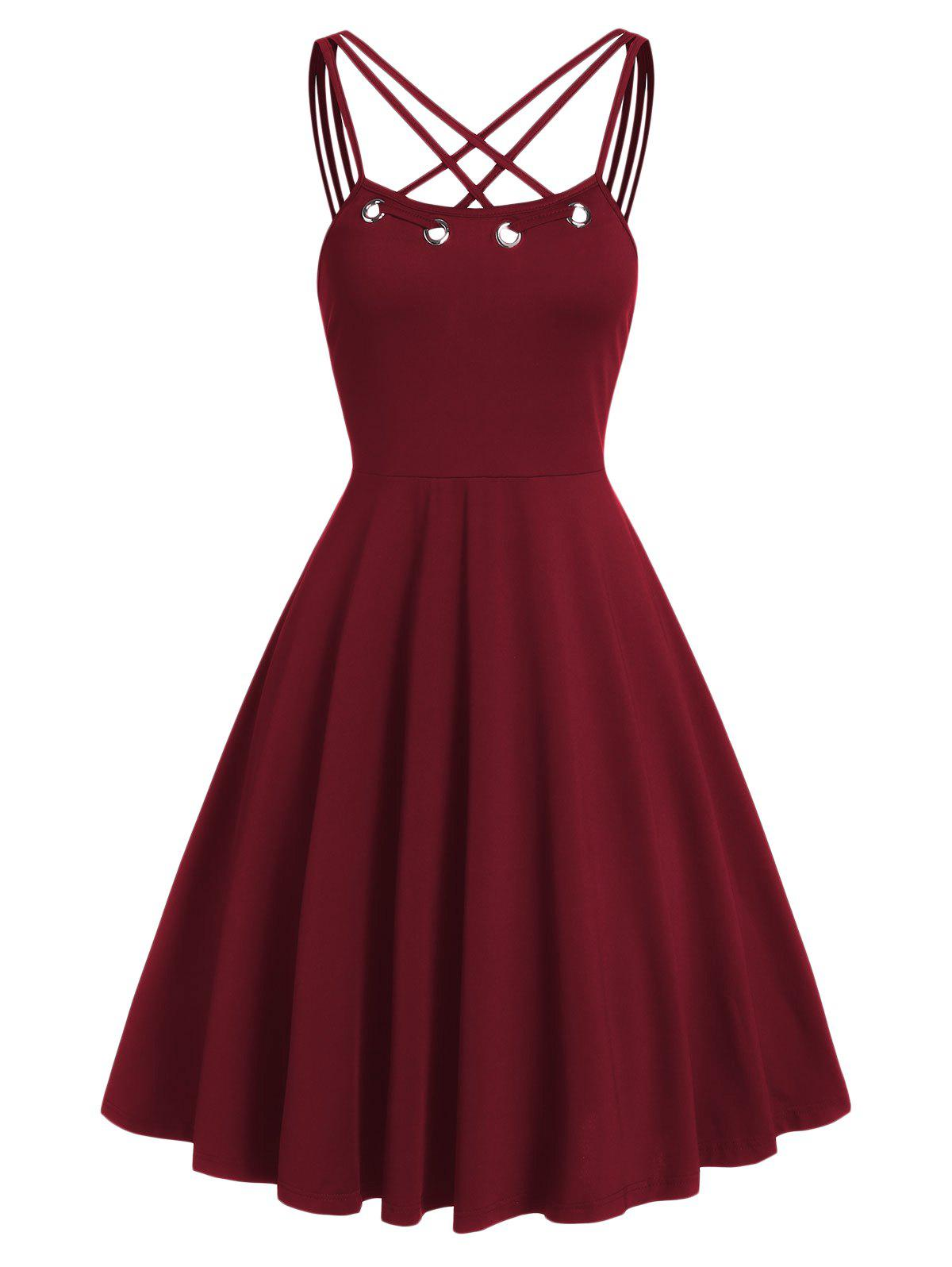 Strap Collar Fit And Flare Dress - RED WINE S