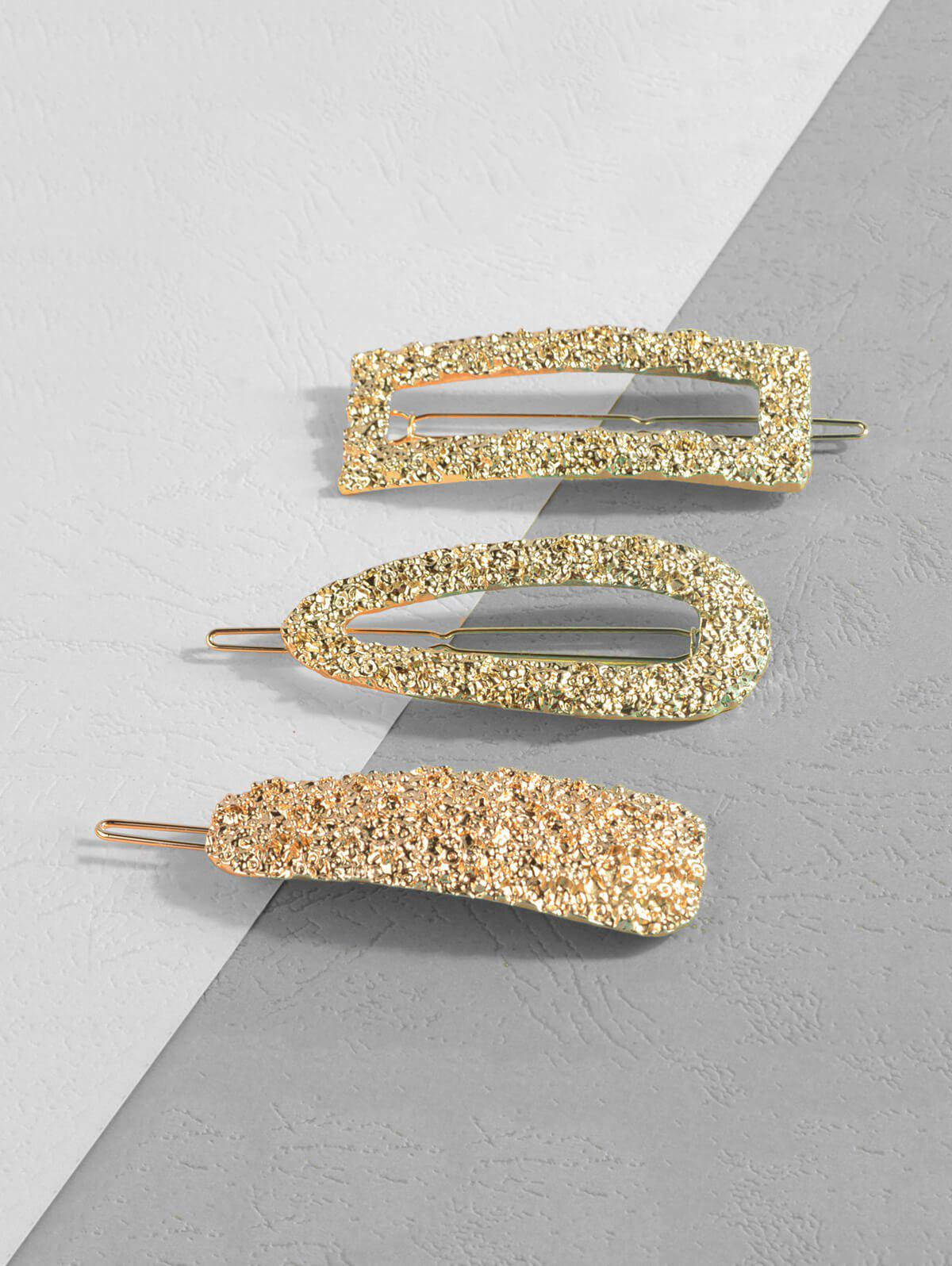 Hollow Out Hammered Hair Clips Set - GOLD
