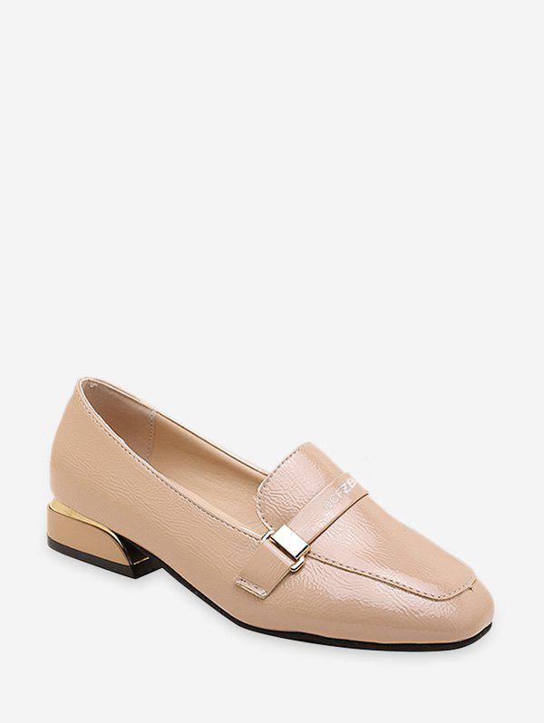 Minimalist Square Toe Leather Loafer Flats - BROWN EU 39