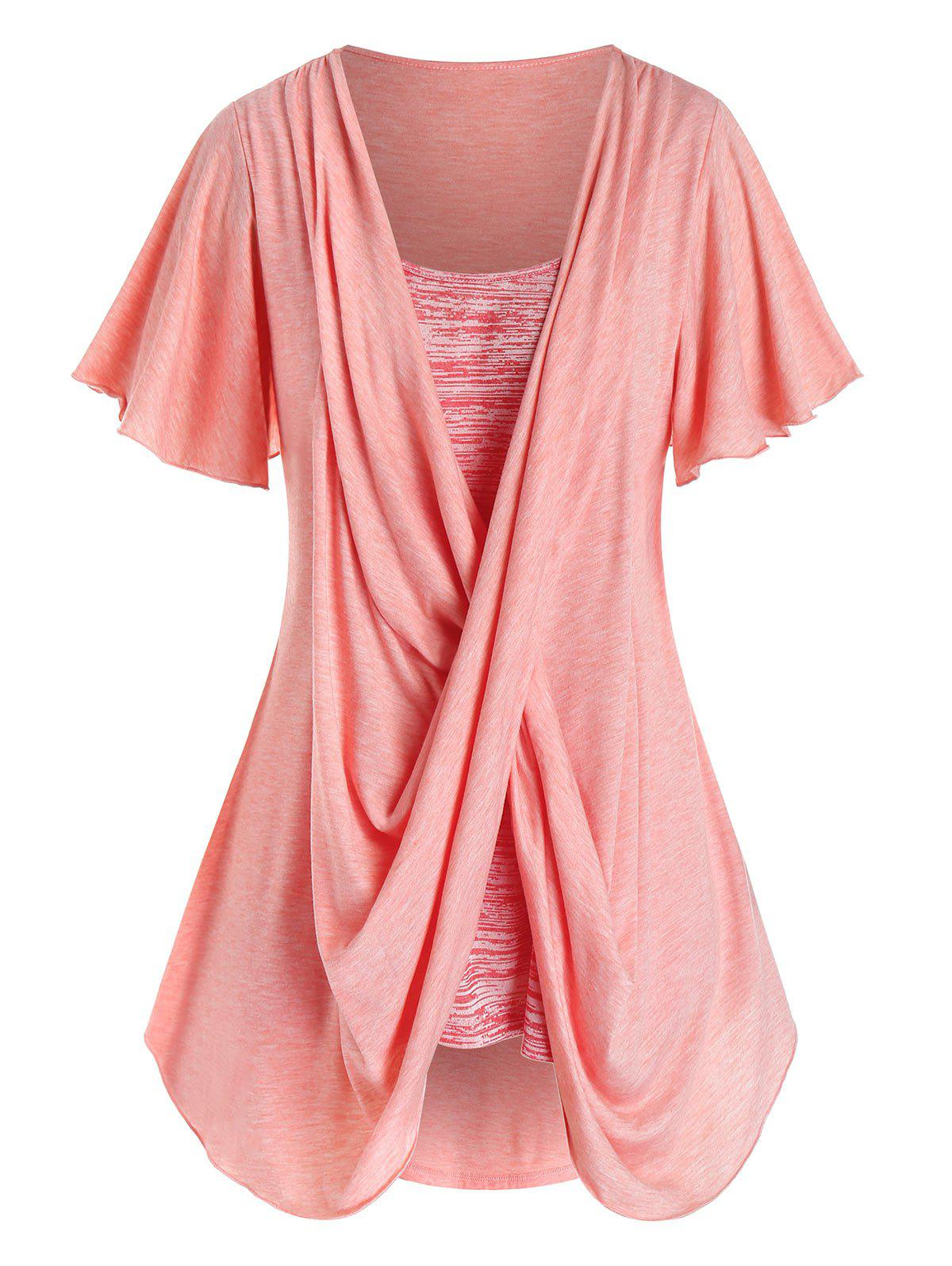 Plus Size Crossover Space Dye Flutter Sleeve Tunic Tee - FLAMINGO PINK 2X
