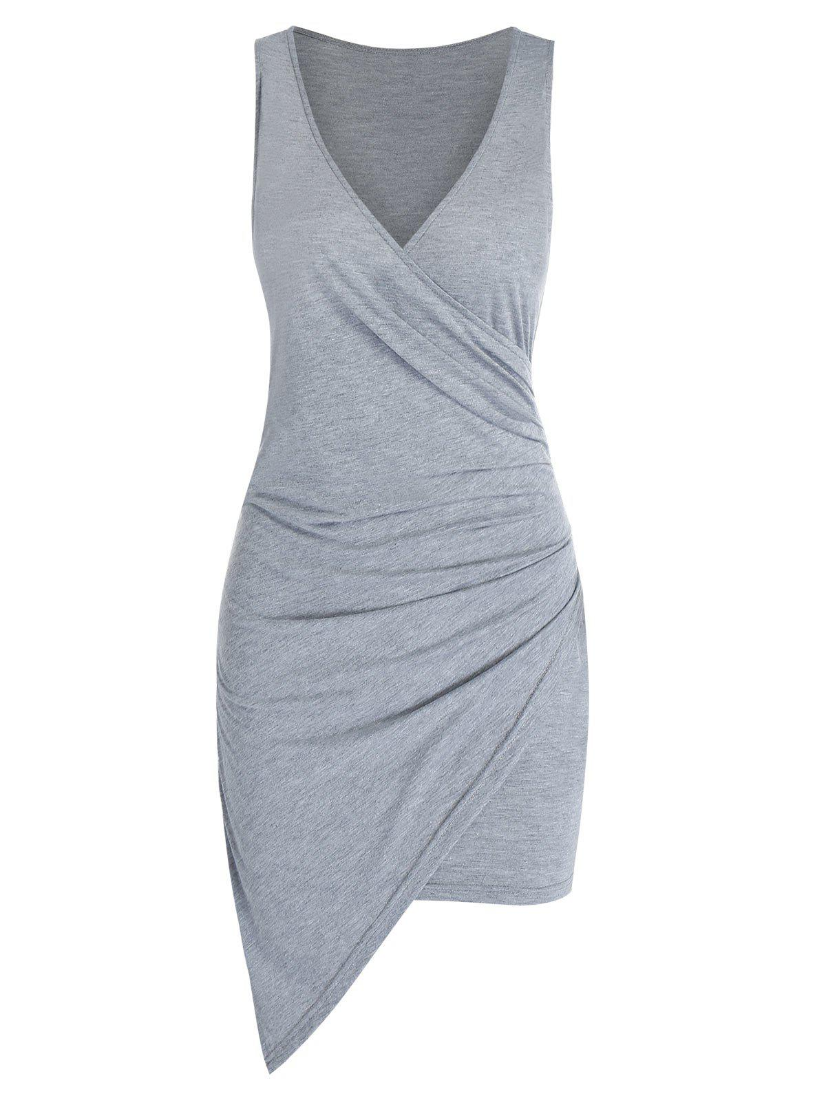 Sleeveless Asymmetric Surplice Sheath Dress - LIGHT GRAY M