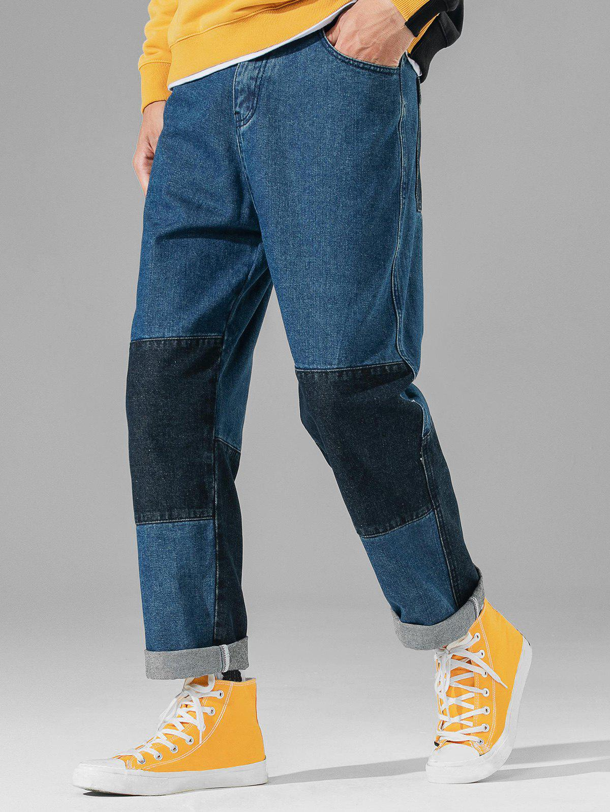Patch Zip Fly Straight Denim Pants - BLUE 32