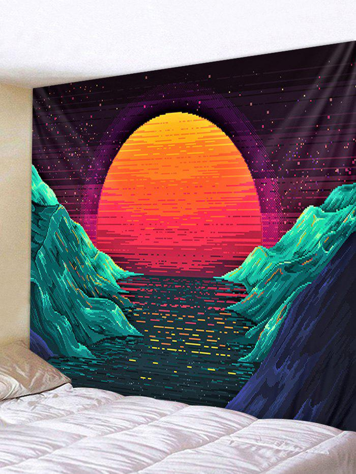Sunset Mountains Printed Tapestry Wall Hanging Art Decoration - GREENISH BLUE W59 X L51 INCH