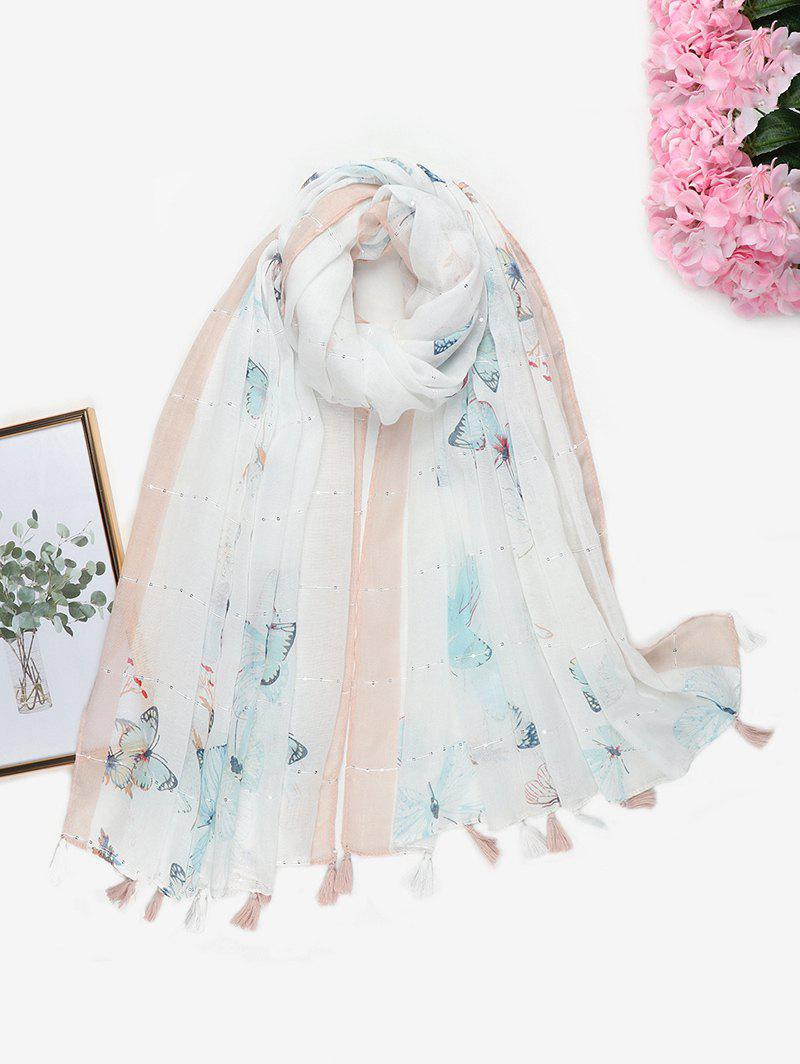 Printed Butterfly Sequins Tassel Long Scarf - MILK WHITE